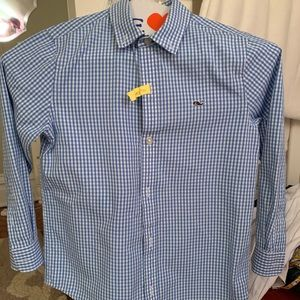 Vineyard Vines boys blue gingham button down